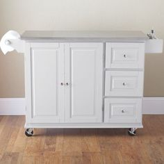 Sundance Rolling Kitchen Cart With Stainless Steel Top And Towel Rack (white)