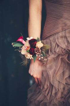 Bridal wrist corsages are a great alternative to a bouquet. We love them!