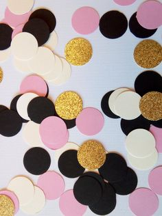 *Pink, Black, Cream & Glitter Gold Confetti*  These confetti pieces are made from premium acid free cardstock confetti. Each pieces measures 1 in diameter. Gold glitter pieces are one sided  The cream pieces can be traded out for a white color confetti. Please just add a note to the order when placed :)  These would be perfect of a baby shower, wedding shower, bachelorette party or even a birthday party. These are made to order.  QUANTITES: Select your quantity per set from the drop down ...