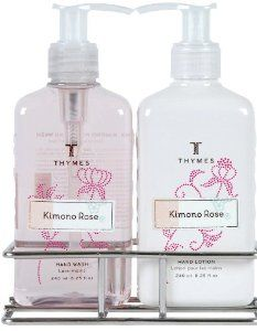 Thymes Sink Set with Caddy, Kimono Rose by Thymes. $32.00. Enhance tranquility. Fragrance of satiny rose, peony and jasmine petals heightened with sweet Clementine, voluptuous cassis and a creamy kiss of vanilla.. Moisturizing glycerine. Attractive wire caddy. Unabashedly feminine. Together, Kimono Rose Hand Wash and Hand Lotion in their convenient caddy treat hands to gentle cleansing and skin-softening emollients. Let the simple act of washing your hands transform ...