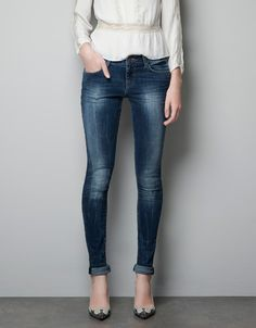 BLUE GREY SUPER STRETCH SKINNY JEANS - Jeans - Woman - ZARA United States