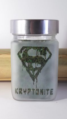 SuperMan Inspired Kryptonite Etched Glass Stash by Twisted420Glass Stash Jar, Glass Jar, 420, Glass Pipe, Bong, Bongs, Air Tight, 710, oil, Hash oil, Cannabis, Weed, Marijuana, Stash