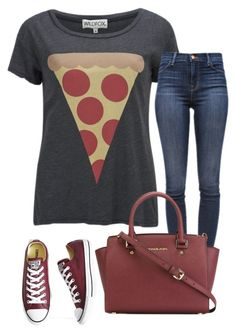 """Untitled #161"" by cloria-lavette ❤ liked on Polyvore featuring Wildfox, J Brand, MICHAEL Michael Kors and Converse"