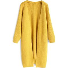 Chicwish Cheery Ribbed Knitted Cardigan in Mustard (€45) ❤ liked on Polyvore featuring tops, cardigans, yellow, outerwear, sweaters, mustard cardigan, holiday cardigan, cocktail tops, mustard top and yellow cardigans