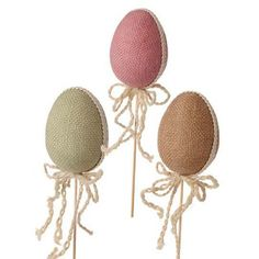 """RAZ Rustic Easter Egg Stake Set of 3  Assorted rustic Easter Egg stakes Set includes one of each Pink, Tan, Green Made of Burlap Measures 3.5"""" X 2.5""""  RAZ Rustic Easter Collection"""