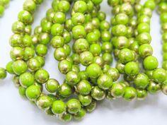 Czech Beads, 6mm Druks, Chartreuse Czech Beads, 25 beads per strand, CB5D6, Jewelry Supplies, Zardenia