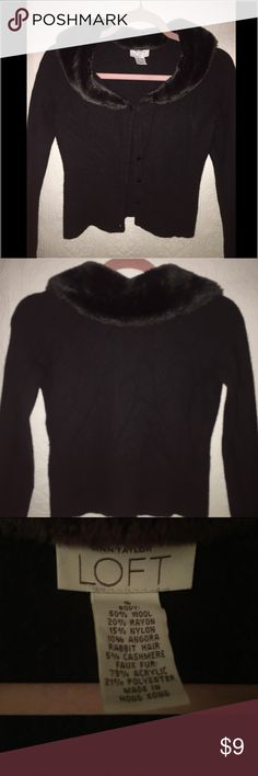 Ann Taylor with faux fur sweater. Used missing two front buttons   I always wore it with just the top button. Beautiful on and discounted due to buttons. Ann Taylor Sweaters Cardigans