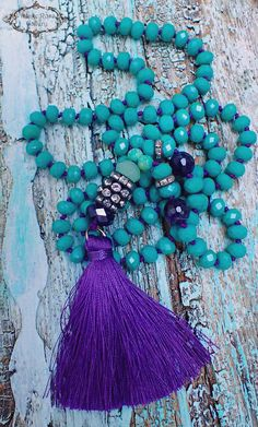 Purple Silk Tassel Necklace, #VintageRoseGallery , #etsy Boho Tassel Necklace, Purple - Green  Boho Chic Statement Necklace,  Gift for her by VintageRoseGallery