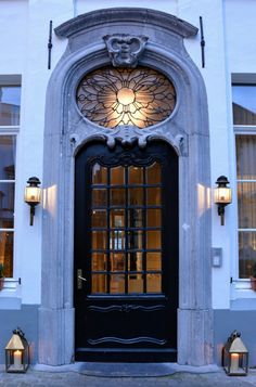 The entrance door of Hotel Navarra Bruges. Hospitality at its best.  http://www.hotelnavarra.com/en/info/150/Hotel-Navarra.html