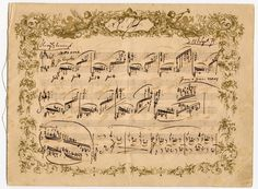 "An early version of the Capriccio, Op. 76, Nº. 1, in the hand of Johannes Brahms. See the fancy decorative border? This copy was given to Clara Schumann as a ""suitable-for-framing"" birthday gift in 1871, possibly ending a quarrel between them.   (Yale Univ. Library)"