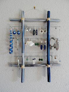Porte bijoux mural en bambou bleu gris argent