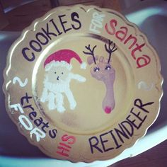 $1 gold charger plate turned into a cookie plate for Santa and his Reindeer!