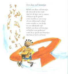 doos vol letters Language Activities, Kindergarten Activities, Preschool, School Teacher, Primary School, Letter School, Poetry Projects, Poetry For Kids, Co Teaching
