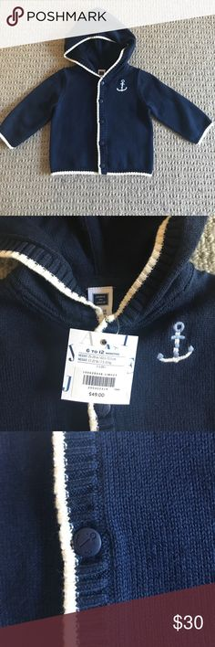 Janie & Jack hooded cardigan NWT. Navy blue cardigan with anchor design on left side. White trim. Janie and Jack Shirts & Tops Sweaters