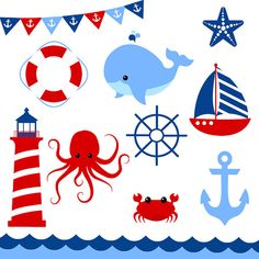 Items similar to OFF Nautical Clip Art Set - Set of 33 - Nautical Clip Art - Nautical Vector - Navy Blue and Red - Scrapbook on Etsy Nautical Clipart, Nautical Prints, Nautical Baby, First Birthday Outfits Boy, Sailor Baby Showers, Sailboat Painting, Kids Vector, Rainbow Birthday, Baby Nursery Decor