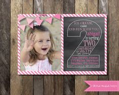PRINTABLE Chalkboard Second Birthday Invitation with Picture - 2nd Birthday Invitation -  Girls Boys Birthday Party 4x6 or 5x7 on Etsy, $13.00