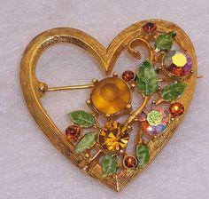 Weiss Enamel and Rhinestone Heart Pin