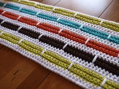 Ravelry: Crochet Stripe Blanket ~ free  pattern by Bernat Design Studio {would make a great rug with chunky yarn and large hook}