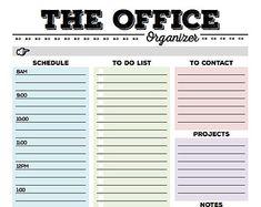 Work Day Organizer Planner Page Printable