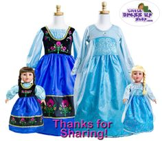 Frozen dresses for your little girl and her best friend! #pretend