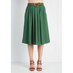Vintage Inspired Long Full Breathtaking Tiger Lilies Skirt ($50) ❤ liked on Polyvore featuring skirts, modcloth, bottoms, green, apparel, full skirt, mid-calf skirt, pleated midi skirt, long full skirt and flower skirt