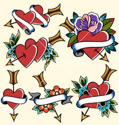 Classic vintage heart tattoo vector art - Download Classic vectors ...