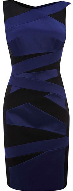 Karen Millen Cross Over Bandage Navy and Black Dress