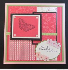 Handmade butterfly card - 6x6 card using Stampin' Up papers and stamps, tiny flowers, and rhinestones.