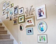 Staircase Gallery Wall w/monograms