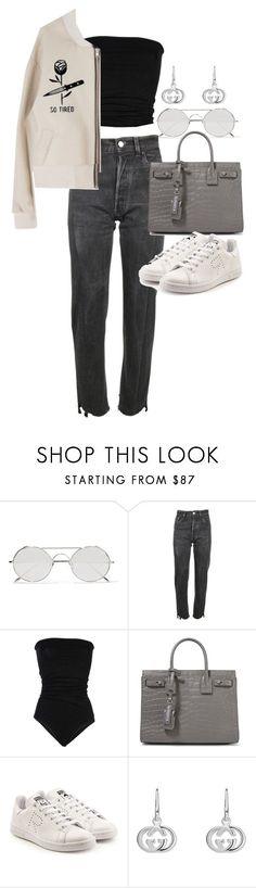 """""""Untitled #21975"""" by florencia95 ❤ liked on Polyvore featuring Linda Farrow, Vetements, Laneus, Yves Saint Laurent, adidas and Gucci"""