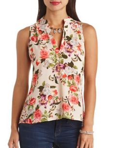 floral print high-low sleeveless top