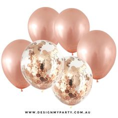 ****For a larger range and matching party supplies please visit our website**** www.designmyparty.com.au  30cm balloons x 10 solid rose gold metallic balloons and 2 clear pre-filled with rose gold confetti.  Balloons can be filled with air or helium. Best to inflate balloons on the day of your party.  If filling with air, rub the balloon with your hand to create static then roll the confetti around inside the balloon for the confetti to stick.  Please note when using helium: confetti will…