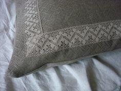 Heavy jacquard   linen pillow sham rustic chic linen pillowcase with linen lace  ORIGINAL DESIGN  by LUXOTEKS (65.00 USD) by Luxoteks