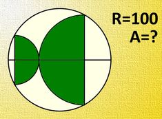 Find the area of the green part if diameter of the circle is R=100. Express result to the accuracy of 3 decimal.