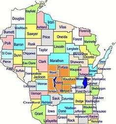 Central  Wisconsin includes Adams, Juneau, Marquette, Portage, Waushara and Wood counties.  This area if known for it's sandy, farming soil.