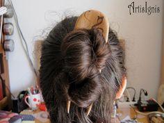 MusiCat Alder Wood Hair Pin Two Pronged Handmade by ArtisIgnis