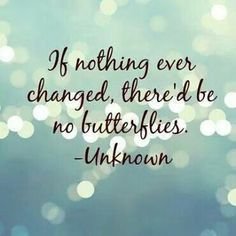 If nothing ever changed, there'd be no butterflies