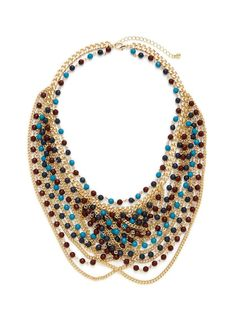 Sparkling Sage Gold, Blue, & Maroon Multi-Strand Bib Necklace