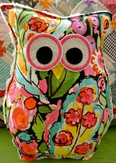 Owl Pillow by buttonbirddesigns on Etsy