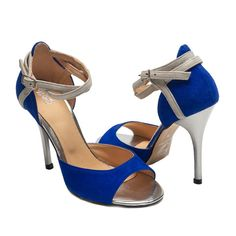 Claim The Floor - 910, Blue/Silver, 4.5'' - Handmade Argentine Tango shoes