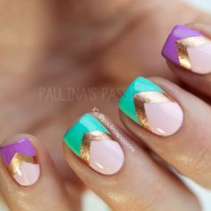 Girly Chevron Nails with baby pink, turquoise, bold lavender, && metallic colors Sexy Nails, Love Nails, Pretty Nails, Fun Nails, Chevron Nails, Gold Chevron, Turquoise Chevron, Gel Nagel Design, Nails Polish