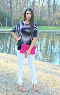 Navy and white with pops of hot pink! Ella Bleu Boutique