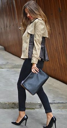 Double-breasted Patchwork Peplum Jacket