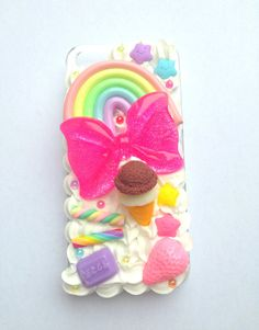 Kawaii Pastel Rainbow Decoden Bow Glitter Pink Food Candy Sweet Whipped Cream…