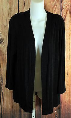 Citiknits Black Open Front Slinky Knit Jacket Long Sleeve Top Womens Size Small