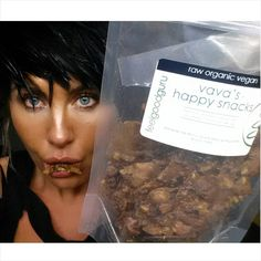 ITS NOT EVEN MY BIRTHDAY YET !!! is this a treat...correction...MY FAVE HEALTHY TREAT EVER NAMED AFTER ME?!!!! IT SOOOO FRIGGEN IS!!!!! Vava's Happy Snacks.  Raw.Organic.Vegan. banana almonds cacao nibs goji berries and Himalayan salt THAT'S IT!  Ok I eat dessert and treats everyday as you know but it's stuff like this. I still eat too much of it like now...haha I got a surprise delivery of 4 bags and while taking this pic I was so excited I ate the whole bag! haha its what I do!! I'm in the…