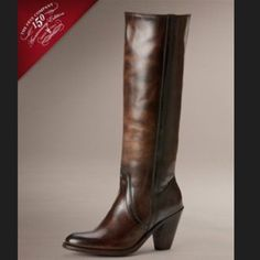 """PRICE REDUCED! Like New Frye Mustang Pull on boots Whiskey brown leather color, 3.5"""" heel, 14"""" shaft, 15"""" circumference. No trades Frye Shoes"""