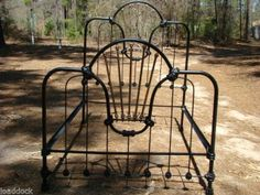 ANTIQUE IRON BED - Full Size - Spanish Fan #741-Authenic Antique Iron Bed