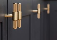 Buster Punch T-Bar brass handles in the new Pink House kitchen/Photo: Susie Lowe kitchen hardware Kitchen Hardware, Kitchen Doors, Cabinet Hardware, Kitchen Cabinets, Kitchen Pulls, Kitchen Units, Dark Cabinets, Kitchen Backsplash, Kitchen Countertops