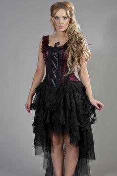 Ophelie Gothic Corset Dress In Satin Flock - Burleska - Dark Fashion Clothing Victorian Corset Dress, Corset Vintage, Steampunk Dress, Lace Corset, Gothic Dress, Gothic Gowns, Gothic Outfits, Gothic Korsett, Gothic Shop